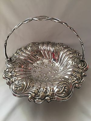 Antique Silver Plated Table Fruit / Bread Swing Basket On Pedestal