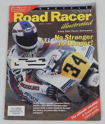 ROAD RACER ILLUSTRATED Motorcycle Magazine -May 1989 Issue KEVIN SCHWANTZ COVER