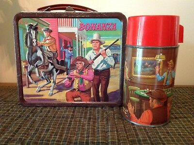 Vintage Aladdin Bonanza Metal Lunch Box And Thermos Tv Series Western Ponderosa