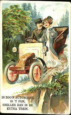 DUTCH In Such a Fine Car Faster than in the Extra Train man woman driving c1910