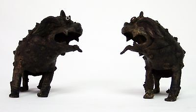 Antique Pair of Sino-Tibetan Temple Guardian Dogs With Glass Eyes