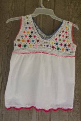Vintage 70's Hand Made Crochet Hippy Peasant Top  S/M