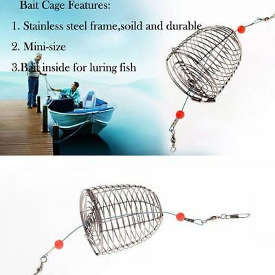 Portable Bait Catch Holder Fishing Lure Cage Trap Basket Feeder Stainless Steel