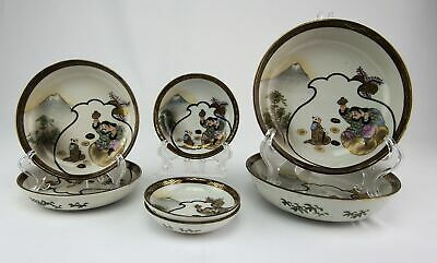 Antique Meiji Japanese Kutani Porcelain Bowl Collection Lucky God