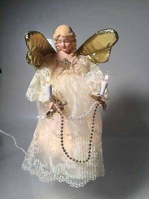 """Christmas Angel Tree Topper Light Porcelain Head and Hands Gold Wings 10"""""""