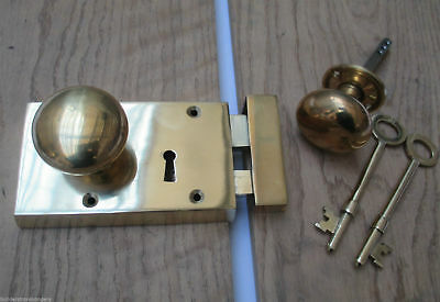 Solid Brass Vintage Retro Old English Victorian Rim Door Knob Key Lock Set