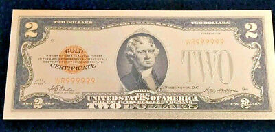"""☆ <MINT> OLD STYLE """"GOLD"""" $2.00 GOLD CERTIFICATE Two DOLLAR Rep.*Banknote~ ☆ jts"""