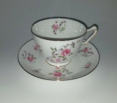 Antique Crown Staffordshire England Tea Cup And Saucer Set Floral Bright Rare!