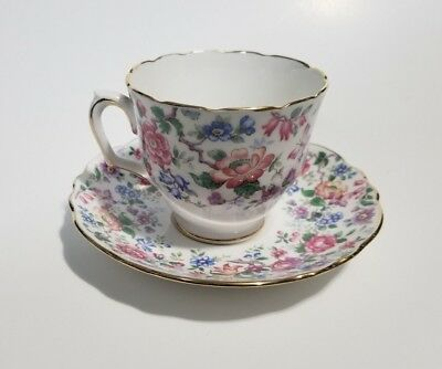 Antique Crown Staffordshire England Tea Cup And Saucer Set Floral Bright Mint!
