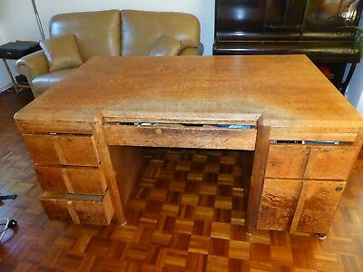 Very large, twin pedestal, solid oak, office desk, antique (1920-1930)