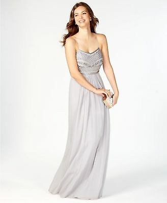 New $549 Adrianna Papell Women'S Silver Sequin Beaded Chiffon Gown Dress Size 18