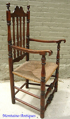 Early Connecticut Bannisterback Arm Chair  c. 1730