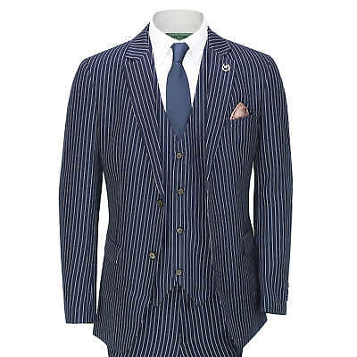 Mens 3 Piece White Pin Stripe on Blue Suit Retro Fitted 1920s Peaky Blinders