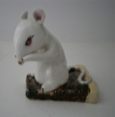 Peggie Foy Studio Pottery Figurine Of Mouse Sitting On Slice Of Cake