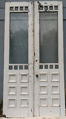 """Antique Double French Door x2 Victorian C.1880s Beveled Glass 101""""Hx52""""W Salvage"""