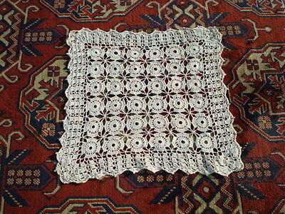 "Rrr! Vintage Small 10"" Square Eqru Hand Made Knitting Tablecloth Croched"