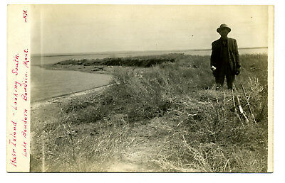 MT Montana Bowdoin Lake Hair Island Looking South Real Photo RPPC Unposted