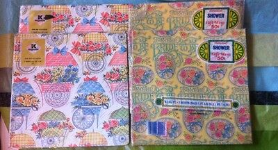 """Vintage 1960s Wedding Shower Wrapping Paper Lot, 4 Pkgs """"NEW Sealed"""" Retro Cool"""
