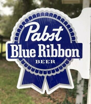 "PBR Pabst Blue Ribbon Large Tin/Metal Two Sided Sign Man Cave 22""x 22""x2"" NEW"