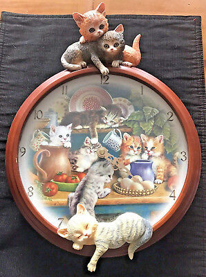 """Clock Cat Novelty Wall Clock """"Kitchen Capers"""" Bradford Exchange Limited Edition"""