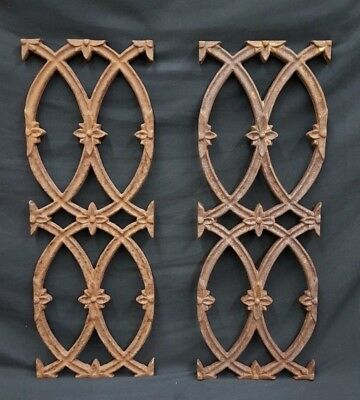 "Antique Cast Iron Floral Point 22"" x 8"" Fence Panel Sections Set of 2"