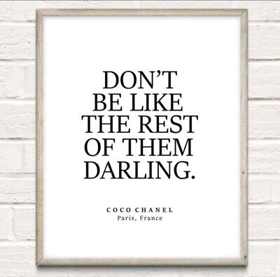 Coco Chanel Rest Of Them Fashion Typography Print Poster Unframed Home Quote