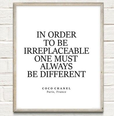 Coco Chanel Irreplaceable Fashion Typography Print Poster Unframed Home Quote