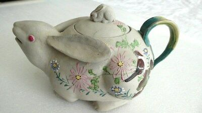 Antique rare Japanese Banko Rabbit glazed clay hand made large teapot 7.5""