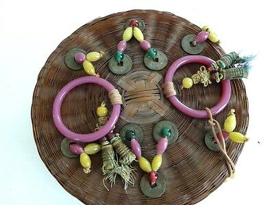 "Antique Chinese 8.5"" sewing basket, marked, beads coins, 2 pink Peking Glass"