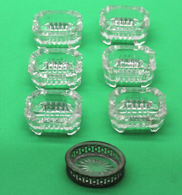 7pc Lot Vintage Antique Victorian Glass Salt Holders 1 Silver Wrapped Syr NY