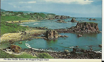 Nice Vintage Photo Postcard The Blue Pacific Washes The Rugget  Oregon Coast