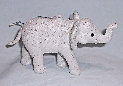 "5"" shatterproof Christmas Ornament White & Silver Glitter Trunk Up Elephant"