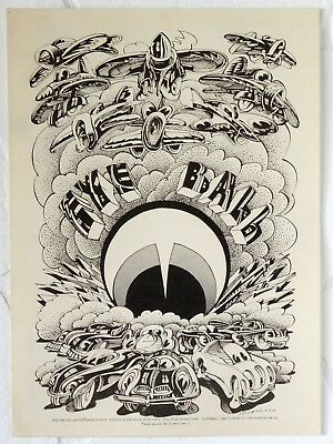 """""""Eye Ball"""" Victor Moscoso 1974 Oddball Psychedelic Comix Poster"""