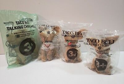 Taco Bell Talking Chihuahua - Plush Dog Lot of 4 (New/Sealed: 3 of 4 Talk)