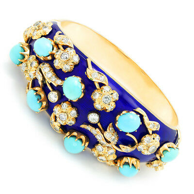 Vintage Turquoise & Diamond Floral Bangle with Enamel 14K Gold 22.30ctw