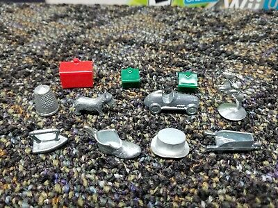 Vintage Metal Monopoly Playing Game Pieces / Tokens Replacements Set of 8
