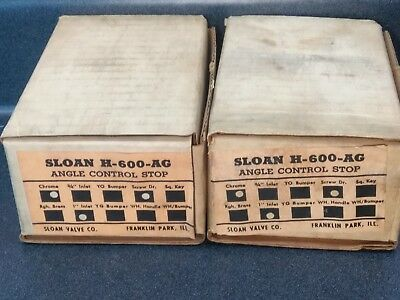 "(Lot Of 2) Sloan H600Ag 3/4"" Crown Naval Angle Control Stop Valves New H-600-Ag"