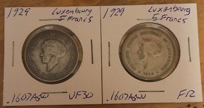 Lot of 2 1929 Luxemburg Silver 5 Francs