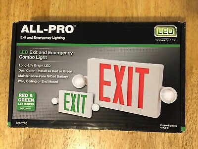 All-Pro Exit Emergency Light Exit Sign LED Light 2 Color Red/Green