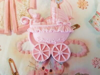 6 x Pink Edible Fondant Baby Pram with Teddy Design for Cake and Cupcake Topper