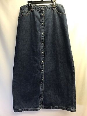 Gap Womens Modest Denim Jean Skirt Snap Front Size 14 Blue Jean Maxi Long
