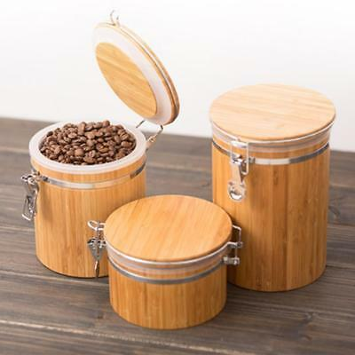 Wooden Kitchen Food Organiser Seal Can Storage Collecting Box Storage Jar Pot