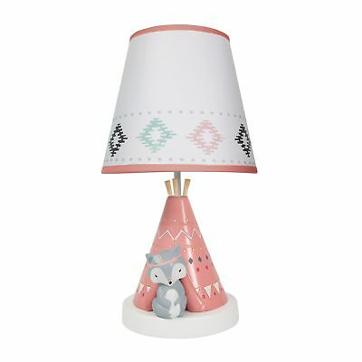 Lambs & Ivy Little Spirit Lamp with Shade & Bulb - White, Coral, Animals, Modern