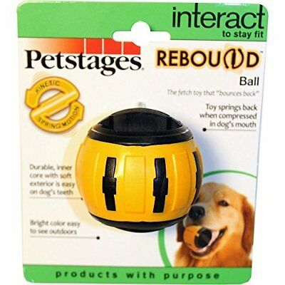 Petstages Rebound Bounce Back Ball Interactive Dog Toy Yellow Medium