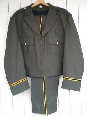 Vintage Mid Century Police Coat Trousers Flying Cross Union Made USA Piping 36 R