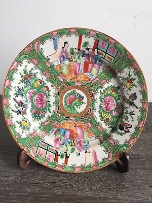 """Chinese Canton Famille Rose Porcelain Plate Mandari9.5"""" With Wood Stand"""