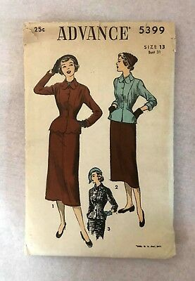 5369dc6f ADVANCE 5399 Vintage Sewing Pattern 1950 50s Womens Dress 2-piece Suit 31in  Bust