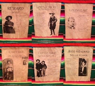 Wanted Posters Old West Western Calamity Oakley Bank Robber Outlaw Belle Women