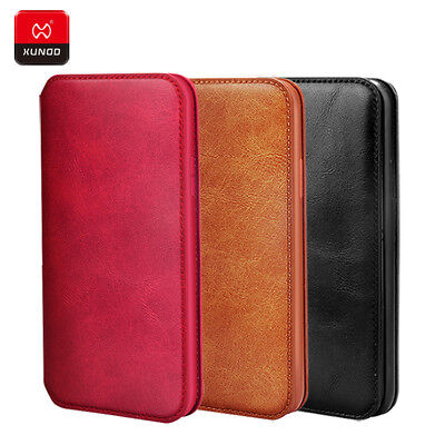 iPhone Xs Max Case XUNDD Genuine Leather Flip Wallet Card Holder Business Cover