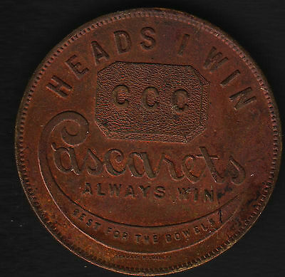 "Cascarets Always Wins Heads I Win Tails You Lose Token 1 1/4"" Dia"